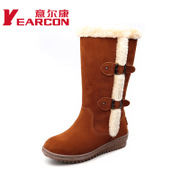 Welcome new genuine nubuck leather shoes winter women flat boots warm sweet snow boots