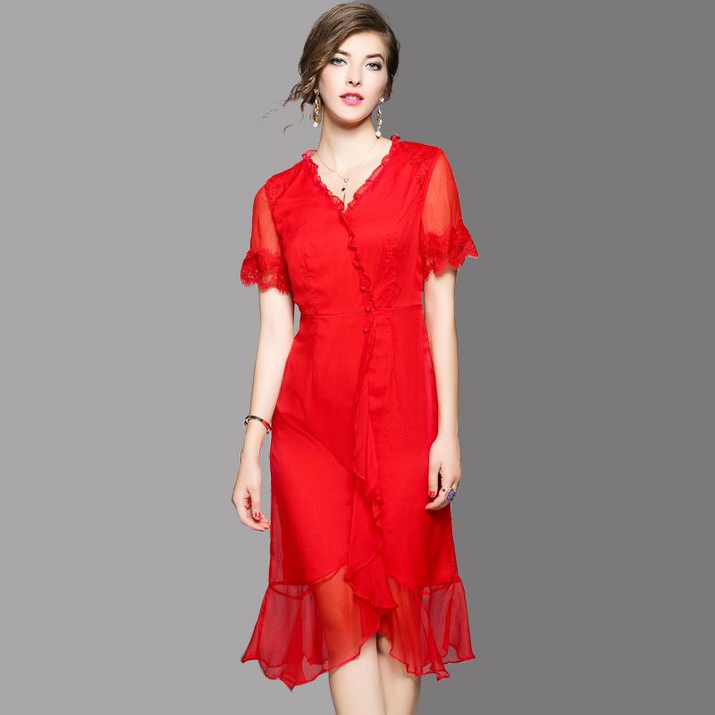 小虫米子欧洲站2017夏季新款时尚真丝拼蕾丝袖纯色不规则连衣裙