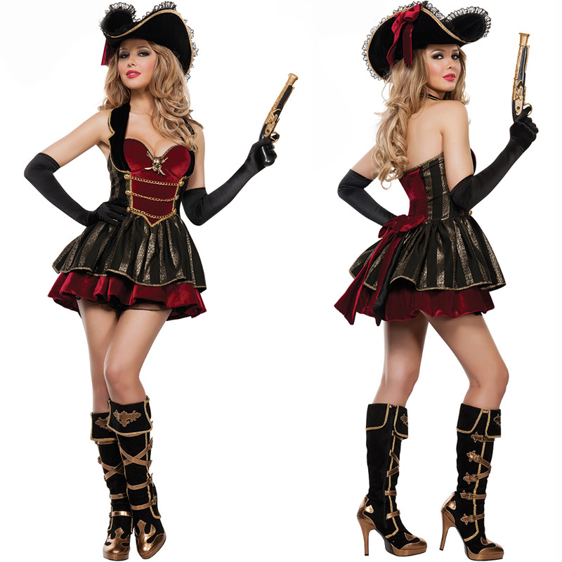 New Halloween Cosplay Cosplay female captain, Pirates of the Caribbean Costume Costume, Party Dress