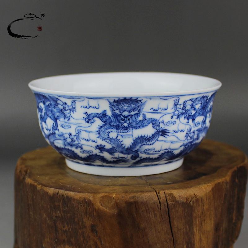 贵和祥京德窑限量版陶瓷手工杯品茗杯大号功夫茶杯手绘青花九龙杯