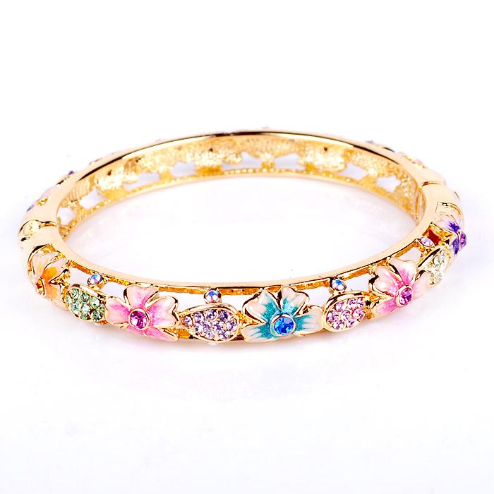 885 fashion gift Beijing Cloisonne Bracelet female hollow gilded Bracelet double crystal diamond Qixi gift