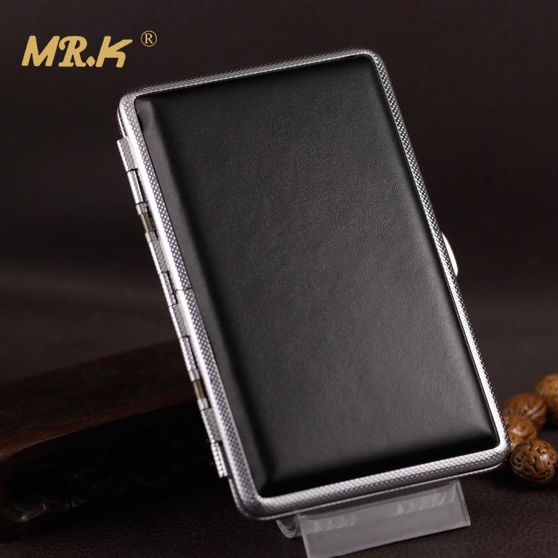 97MM女士细烟泰山心悦南京煊赫门适用烟盒20支装超薄黑色皮烟盒包邮