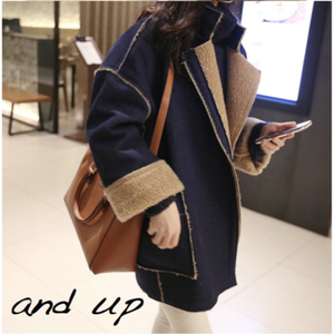 2015 new winter Korean yards thick suede lamb's wool coat and long sections cotton denim jacket female