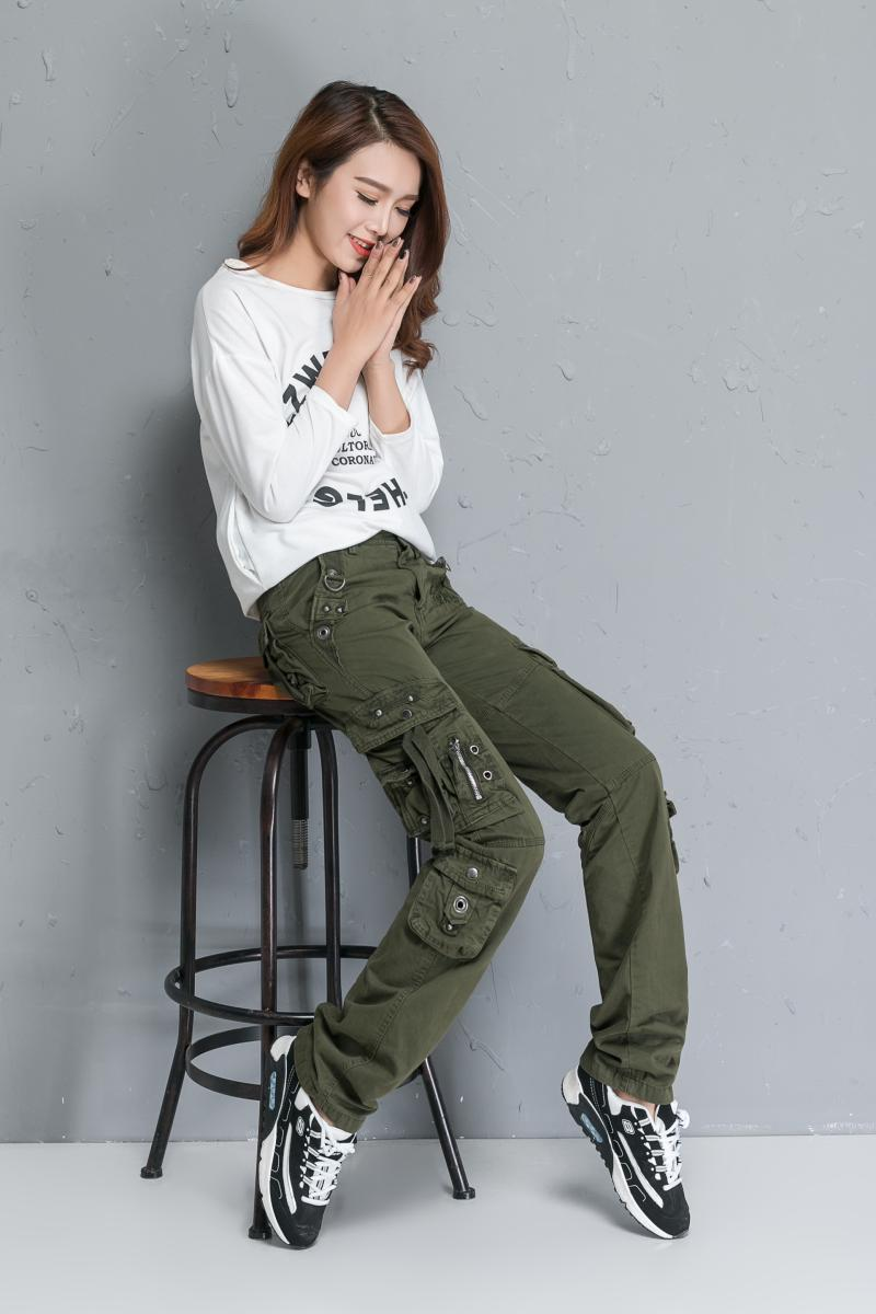 2018 spring and autumn new Multi Pocket overalls womens pants camouflage casual pants straight pants outdoor military trousers fashion