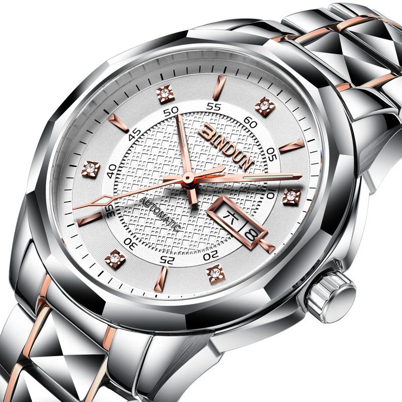 賓頓正品鎢鋼全自動機械表雙日曆防水男士手表高 男表