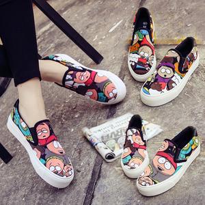 春季韩版女帆布鞋女学生懒人鞋低帮布鞋休闲板鞋厚底乐福鞋女鞋潮
