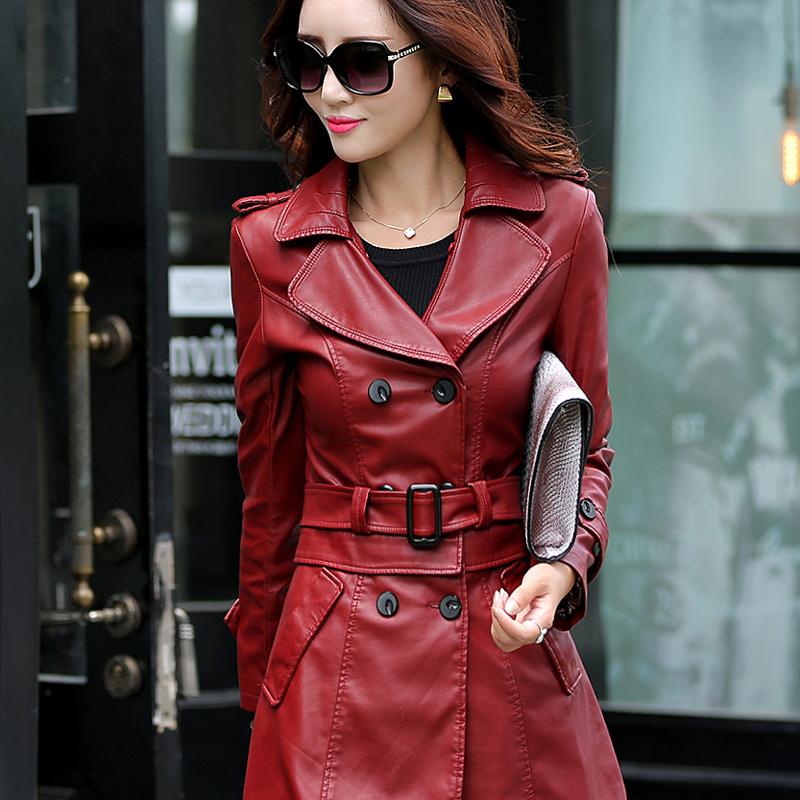 Осенью и зимой новый MS Haining кожа кожаный тонкий длинный корейской моды овец кожи кожа ветровка куртка для женщин