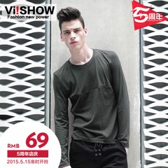 Viishow spring and autumn 2015 men's crewneck long sleeves t shirt men's cotton fashion t shirt men new jackets