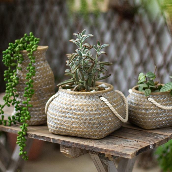 掬涵 編織口袋陶藝花盆 花器 花瓶 花籃 庭院裝飾ZAKKA