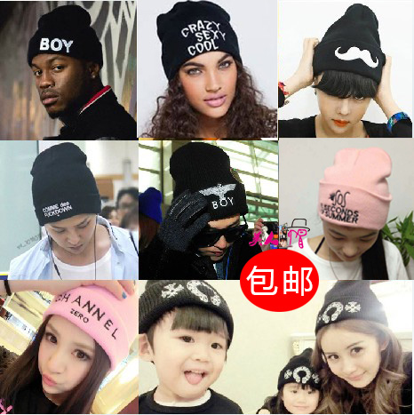 [Электронная почта] GD Quan Zhilong Harajuku мужчины и дамы Зимняя шапка шерсти шляпу трикотажные вышивки письмо Корейской волны