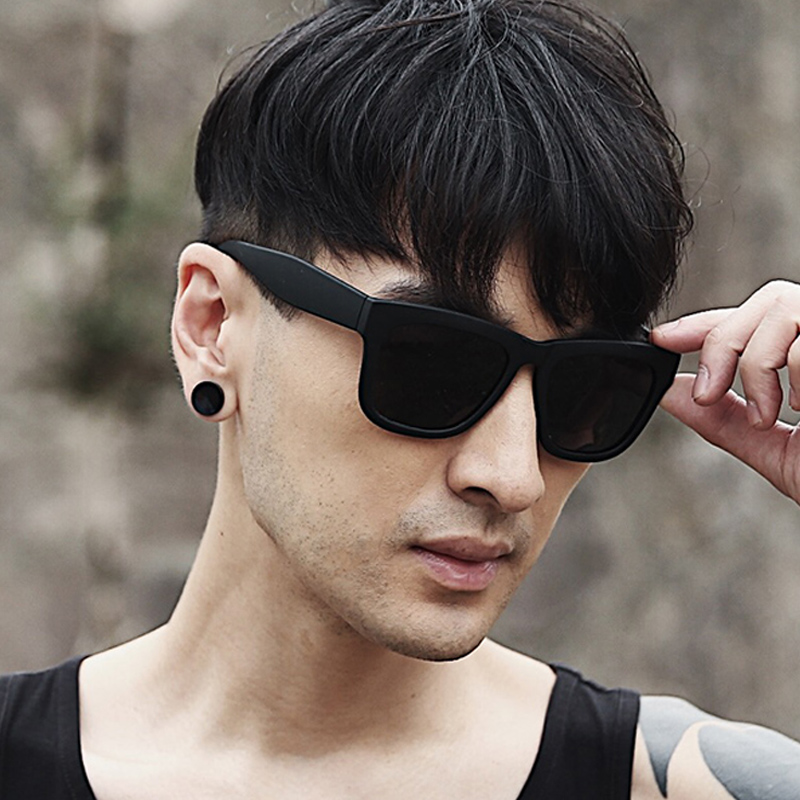 Retro Black Ultra square Polarized Sunglasses mens long face round driving eyes mens Sunglasses 2017 new trend