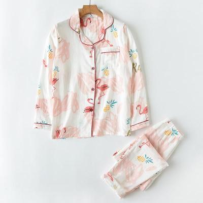 女士纯棉双层纱布家居服套装 睡衣睡裤 长袖裤子两件装 日系 秋款
