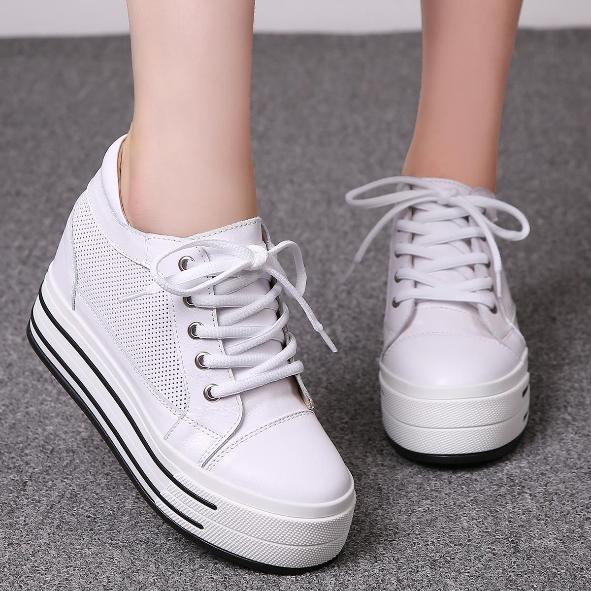 Autumn low top single shoes small white shoes increased leather muffin thick soled womens shoes autumn leisure sports shoes travel shoes