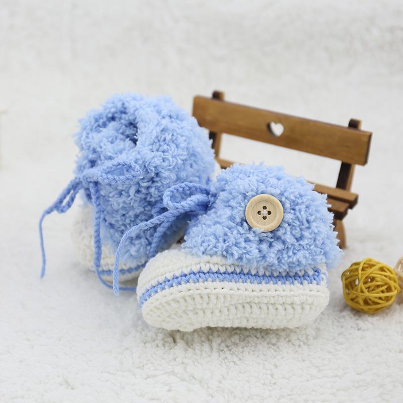 Чистый ручная работа вязанные Ручной крюк мужские и женские детские голубой шерстяная пряжа башмак на младенца трикотажный башмак зимний замшевый удерживающий тепло Маленькая обувь