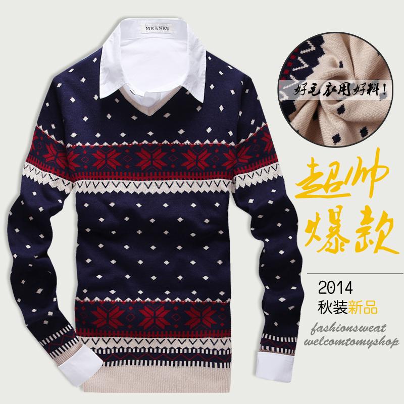 Свитера мужские весной Новый корейский досуг Мужская v шеи свитер день водолазка линии рубашка куртка