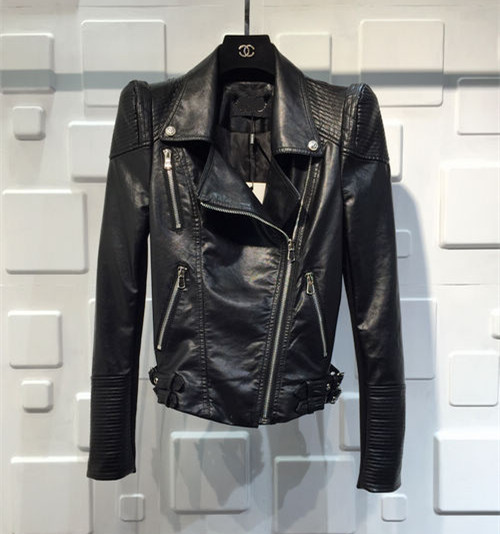 Korean womens leather jacket with cotton shrug and slim fit PU leather jacket