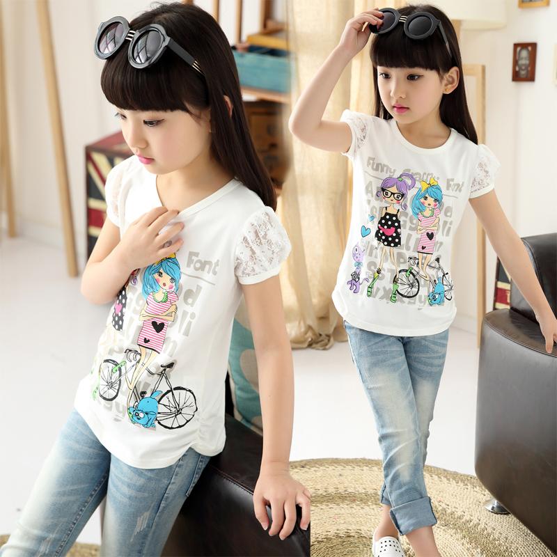 女童新款夏装纯棉儿童T恤宝宝多色多款白色吸汗圆领上衣潮短袖衫