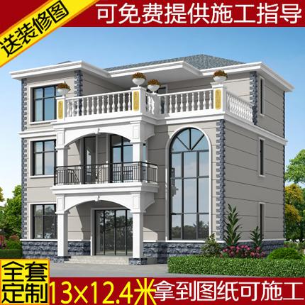 欧式二层半别墅图纸农村自建房设计图建筑三层复式方案图乡村施工