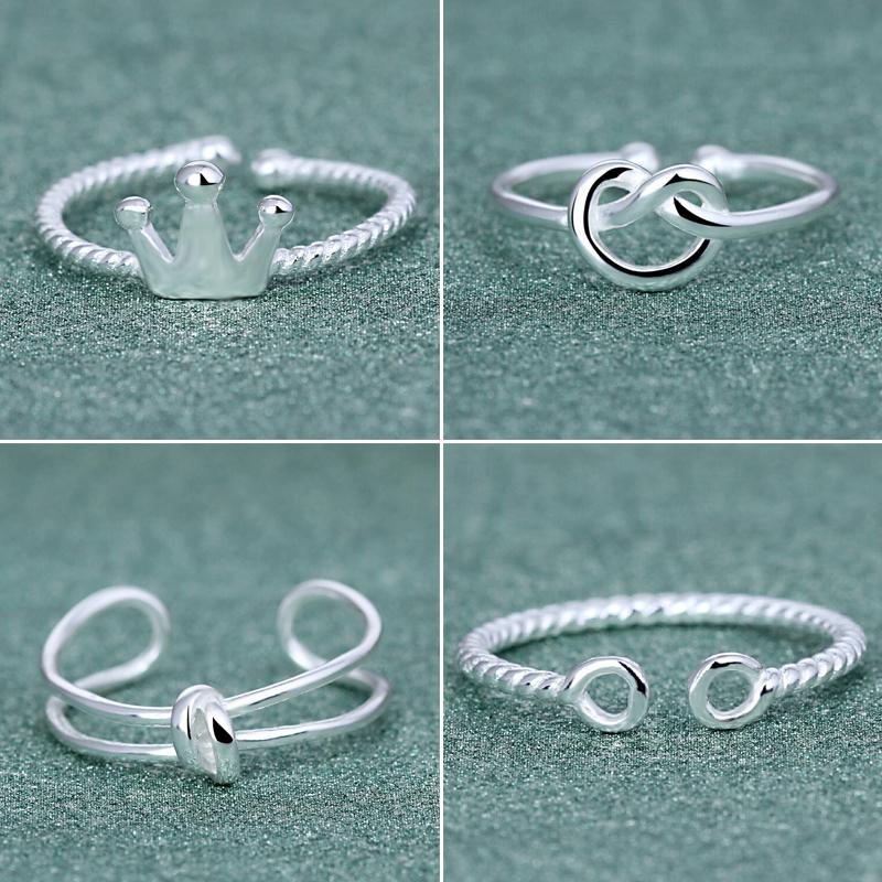 時尚戒指女森系日韓潮人925銀食指環韓國關節開口配飾品學生