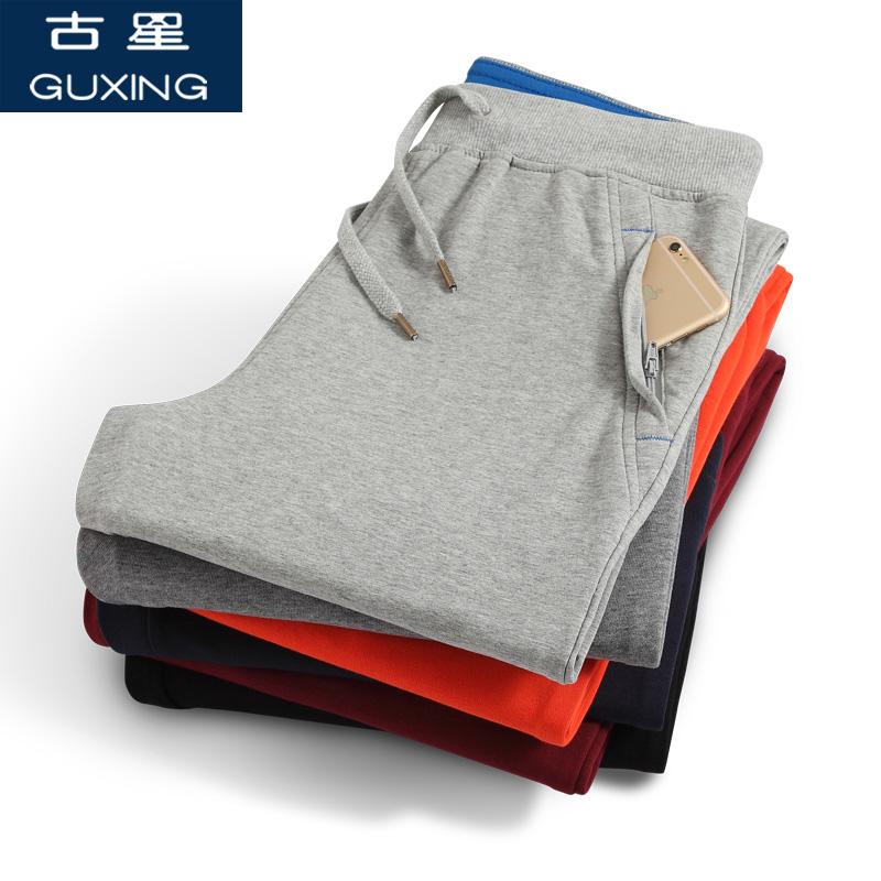 Спортивные брюки длинный мужской брюки зимний осенний с дополнительным слоем пуха воздухопроницаемый прямо вязание большой двор случайный бег баскетбол брюки древний звезда брюки