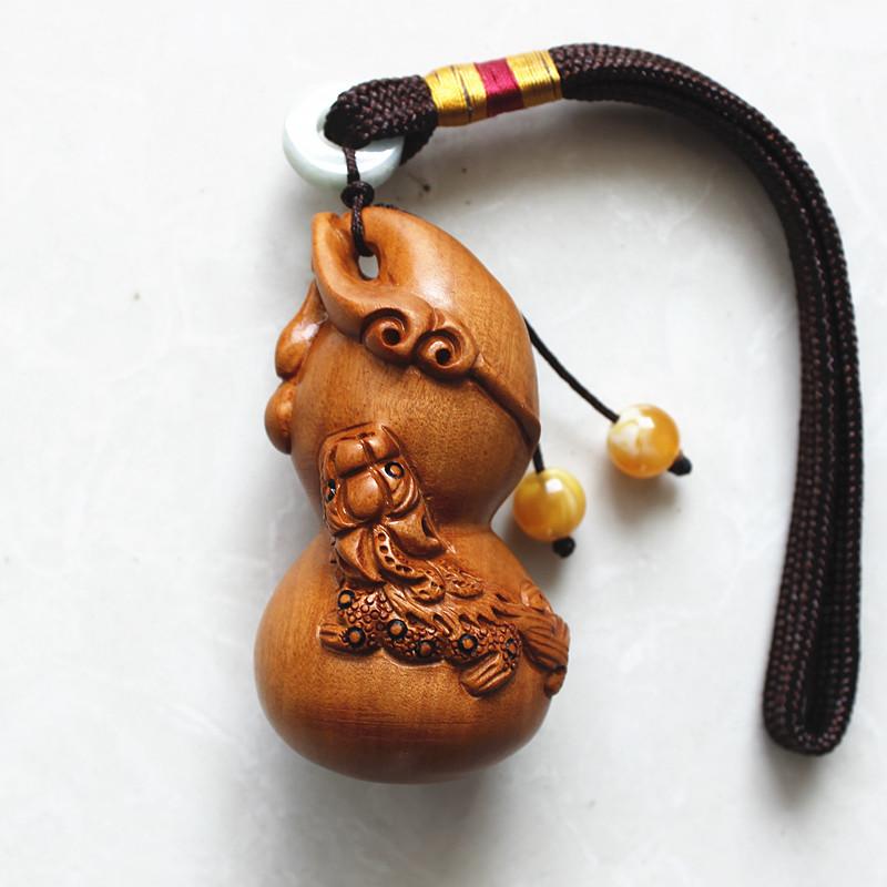 精雕桃木貔貅葫蘆金蟾把玩件手把 實木福祿鑰匙扣吊墜項鏈