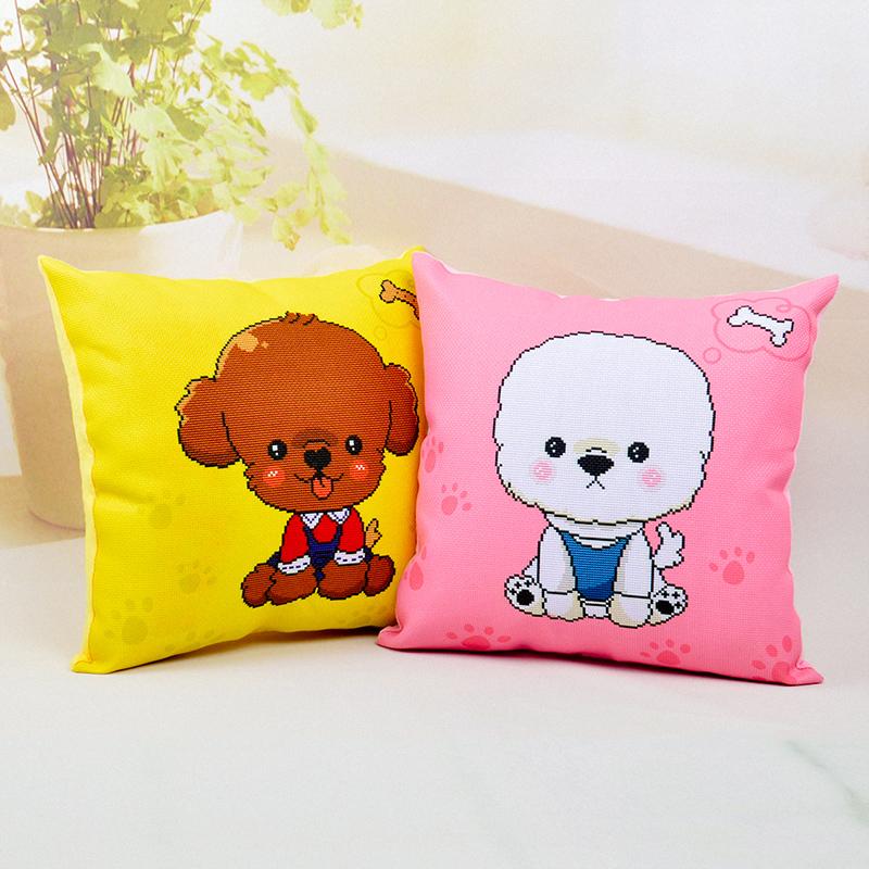 十字繡抱枕客廳臥室可愛卡通萌寵物汪星人情侶靠枕頭小狗印花