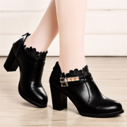2015 winter shield Fox new female rough heels shoes UK deep mouth shoe lace pointed women's tide