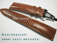 High quality hook pure manual true lizard leather strap pilot big fly 22 mm light brown leather strap