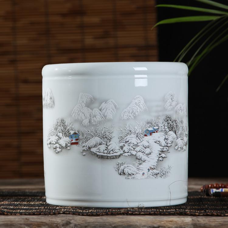Jingdezhen porcelain large snowscape pen holder modern porcelain pen holder office stationery study supplies