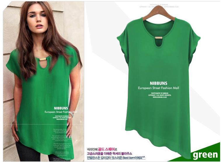 Женщины в Европе и нерегулярные Ветер медные украшения плюс Размер рубашки шифон летом 2015 новых кружева короткий рукав
