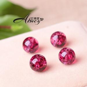 艾博妮玫红色水晶爆花晶半成品散珠