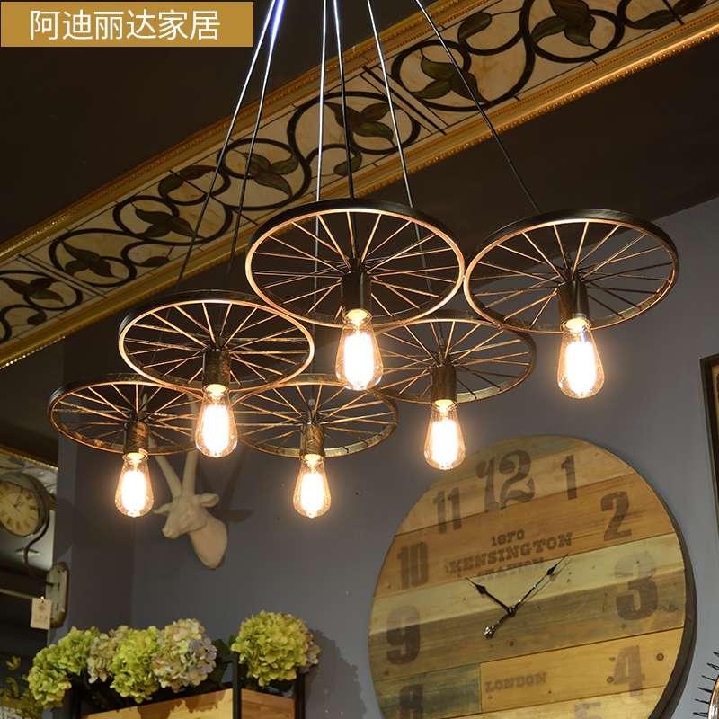 复古工业风吊灯怀旧创意个性餐厅美式铁艺酒吧咖啡厅车轮灯具灯饰