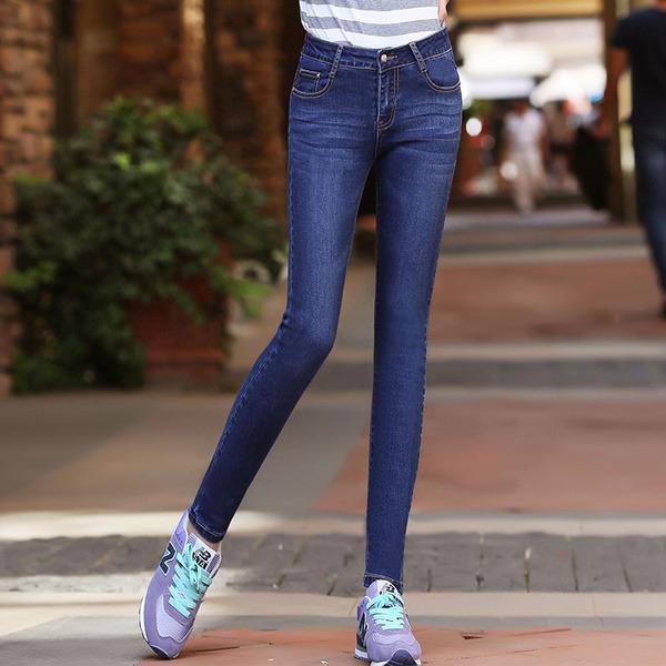 春夏款韩版修身弹力牛仔裤女 小脚中腰浅色铅笔长裤显瘦大码
