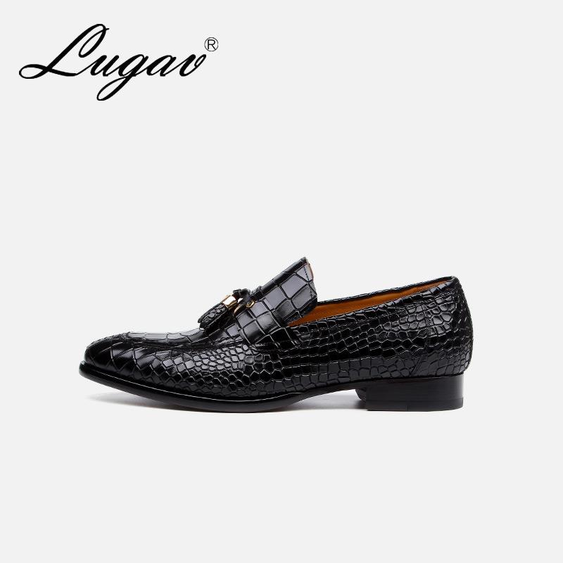 LUGAV夏季男士流苏真皮乐福鞋男英伦休闲鞋定制鳄鱼纹皮鞋一脚蹬