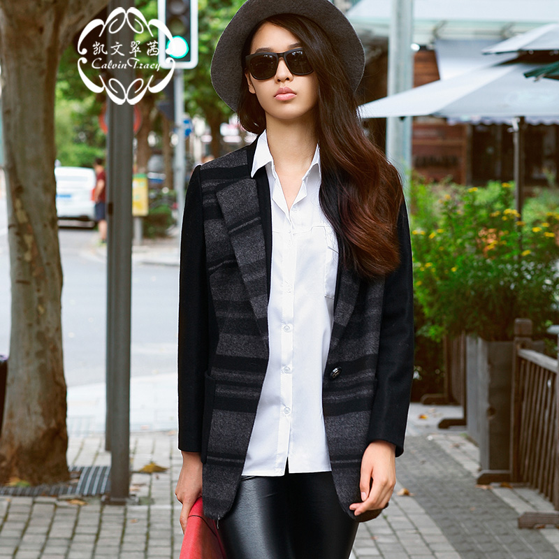 Calvin Tracy, Kevin Tracy counter, spring and autumn cool casual striped wool suit and coat for women