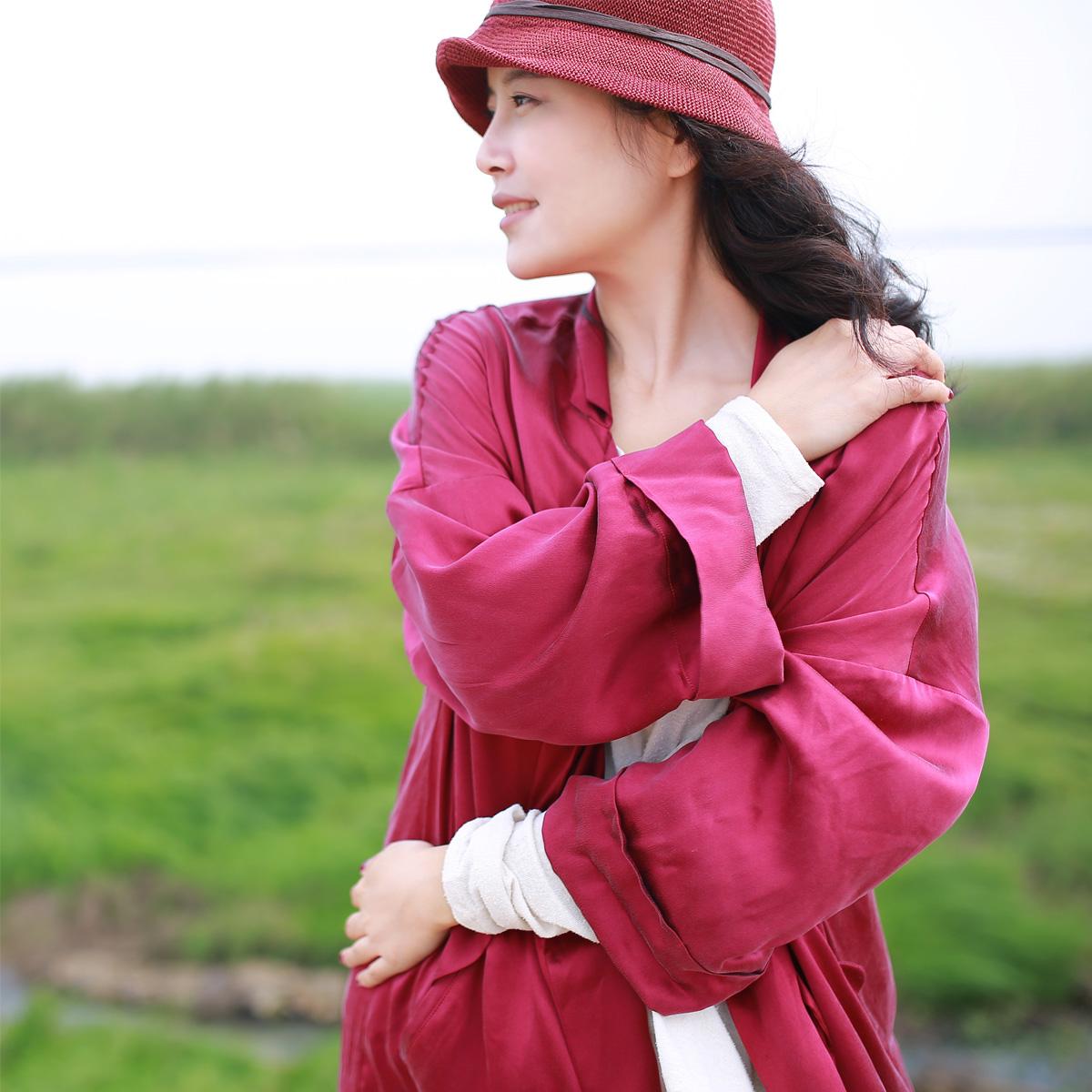 沉与城 春装女士中长款桑蚕丝风衣真丝薄外套袍子