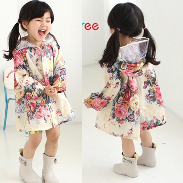 女童小童儿童雨衣韩国时尚甜美花朵可爱学生大帽檐雨披防水服亲子