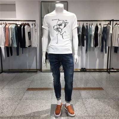 洺之家 2017夏季新款针织刺绣圆领短袖T恤 潮男短袖 1187