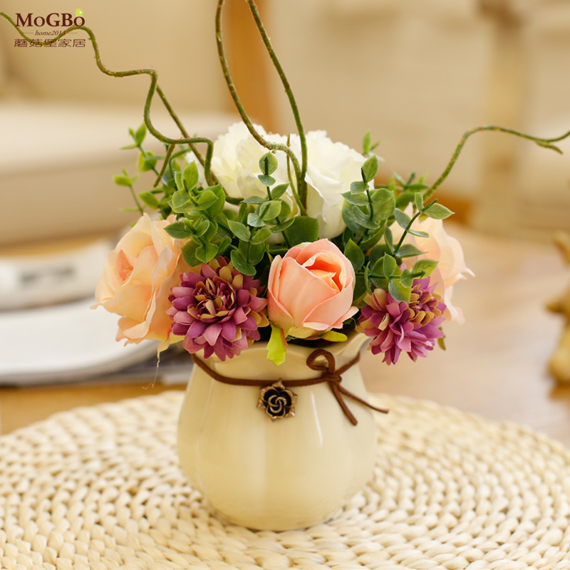 小清新大韓式瓶仿真花藝套裝擺件迷你陶瓷花藝桌麵擺花家居裝飾花