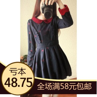 US fall and winter woolen skirt dress bottoming at a single college wind retro doll collar woolen winter tutu skirt