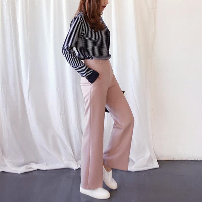 春夏新款高腰直筒九分西装裤女装 韩版显瘦甜美米粉色阔腿休闲裤