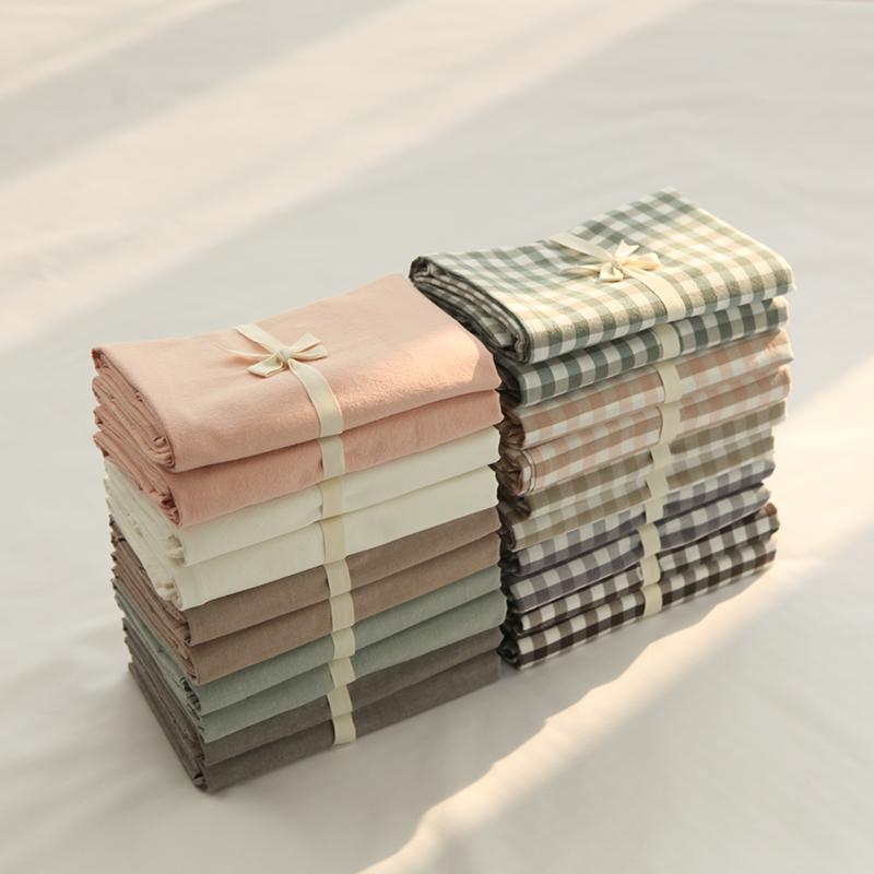 羽晨全棉純棉純色枕套水洗棉單人枕套枕頭套格子枕套良品風格