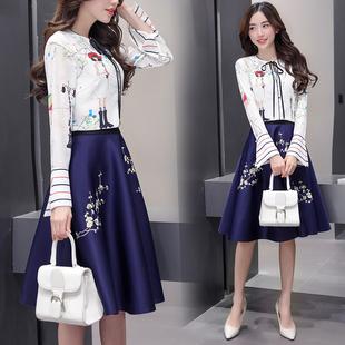 2017春装新款韩版时尚两件套春秋连衣裙女中长款气质修身A字裙子