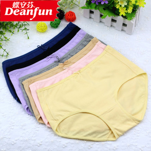 4 butterfly Anfen underwear women genuine classic solid color cotton Lycra in Ms waist boxer shorts 1466