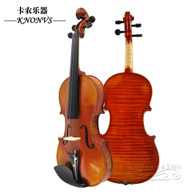 4/4 3/4 1/2 1/4 1/8 全手工制作天然虎�y��板 、整板成人小提琴