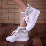 Singular love of spring and autumn canvas women flat shoes platform high increase helped strap casual shoes with Rhinestone Pearl