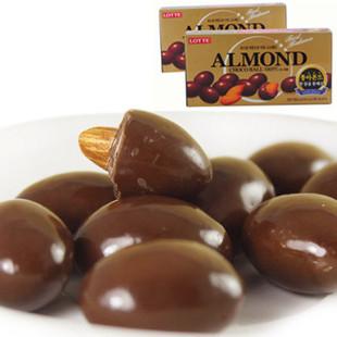 特价韩国原装进口巧克力 乐天杏仁巧克力豆大颗杏仁休闲零食 46克