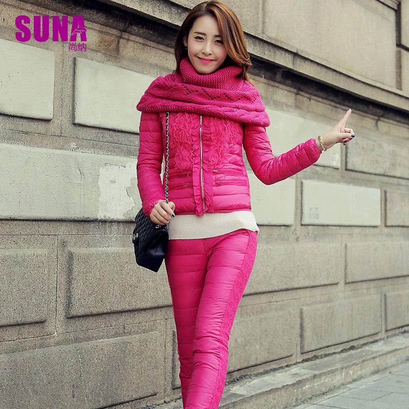Лью Шайнер, из двух частей набор 2014 подлинный Корейский кружева тонкий и короткий slim вниз куртки женщин зимой прилива