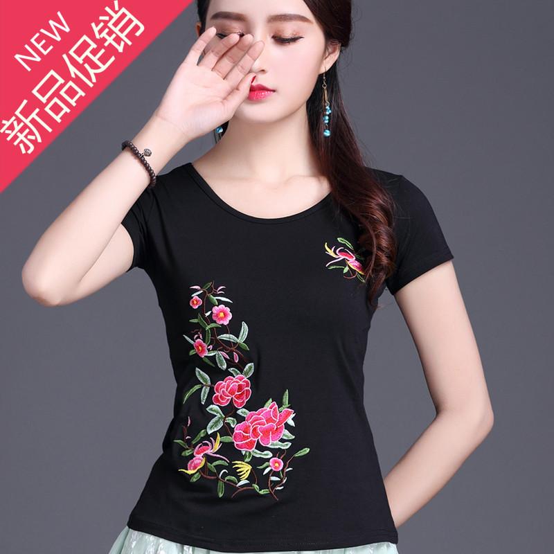 中国风女装 夏装 民族风绣花圆领短袖T恤女大码 显瘦刺绣半袖上衣