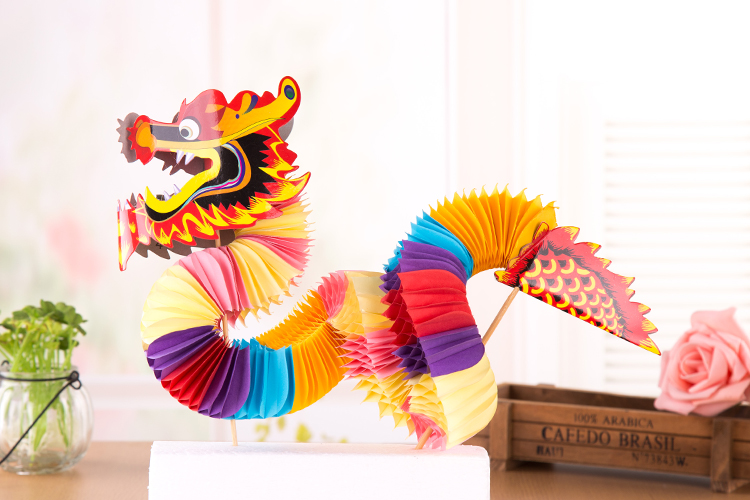 春节元宵纸灯笼小纸龙舞龙舞狮手工艺品玩具剪纸中国特色传统礼物